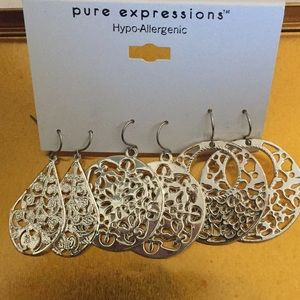 3 pairs lacy silver earrings New!
